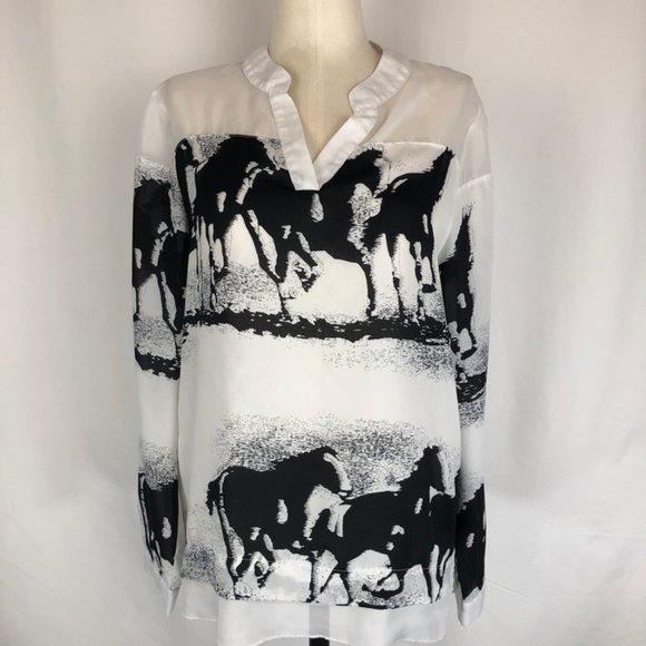 C.O.C. Galloping Horses Black and White Tunic